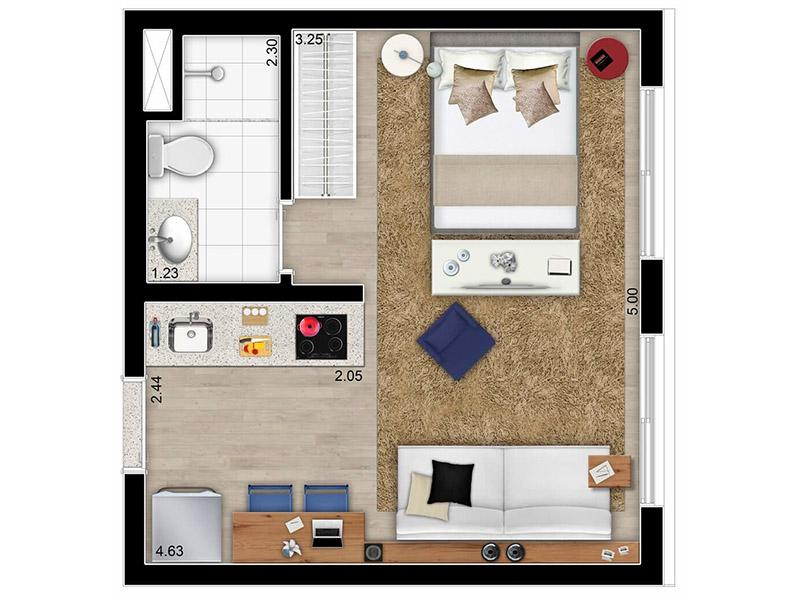 Можно рассмотреть возможность сноса перегородки между комнатой и кухней или увеличения площади за счёт удаления отдельной прихожей