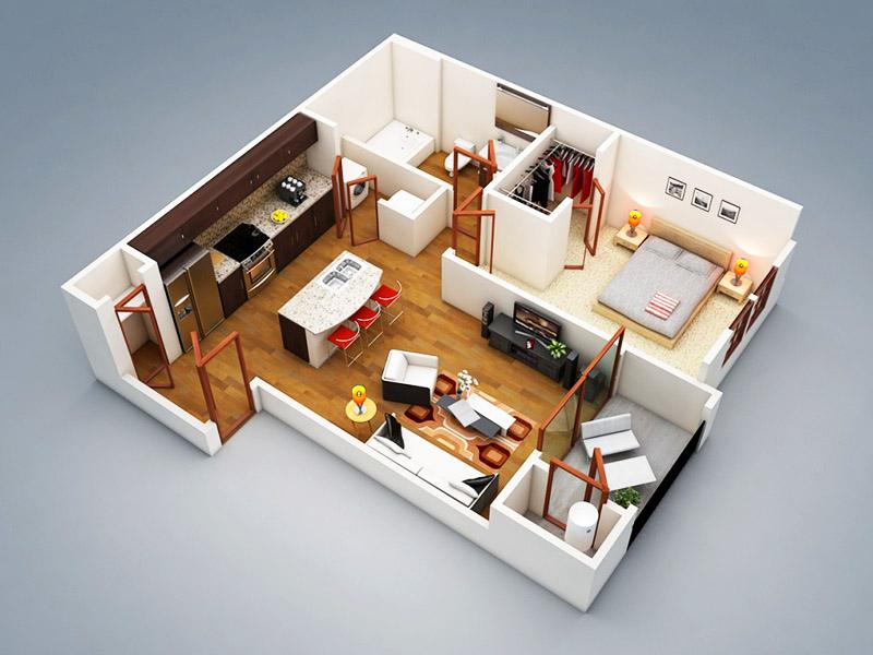 При большой площади в спальне есть возможность отделить гардероб с помощью тонкой стены из гипсокартона