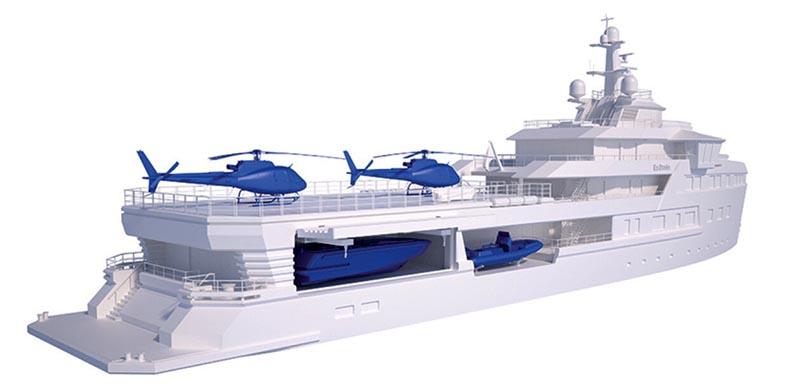 Яхта оснащена по последнему слову техники вертолётной площадкой на верхней палубе, батискафом, снегоходами и водными мотоциклами