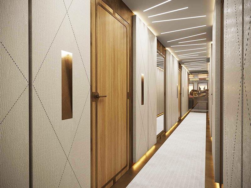 Для оформления стен выбрали панели светло-бежевого оттенка, украшенные декоративной строчкой
