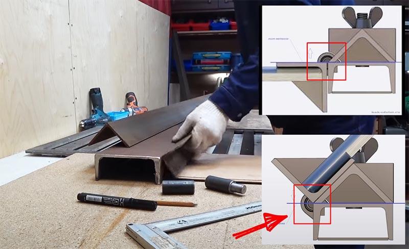 Уголок и швеллер готовы, а вот как расположить петли становится понятно из чертежей