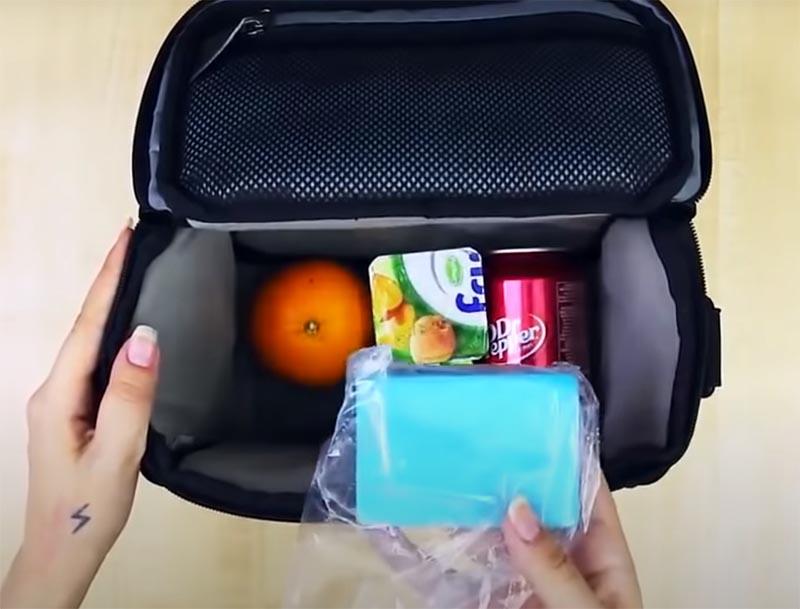 Уложите замороженные губки в сумку и спокойно отправляйтесь на пикник
