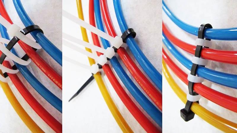 Соединять кабели стяжками можно и подобным образом