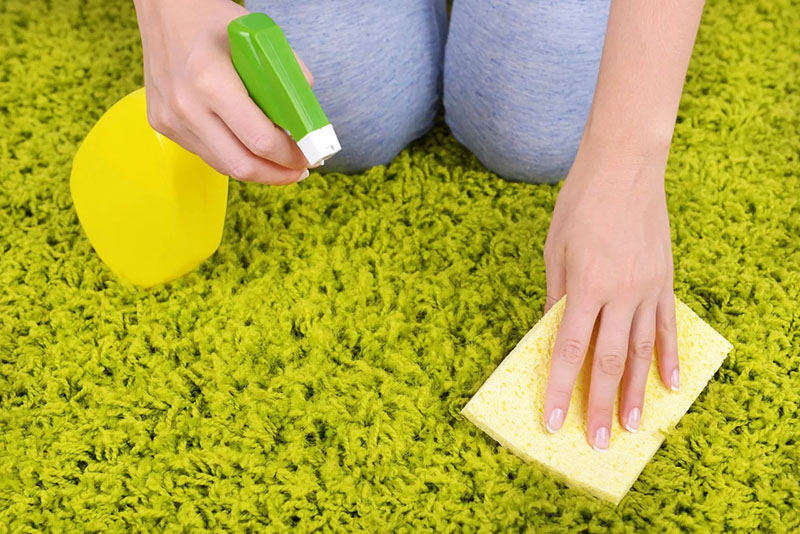 Разведите его водой и натрите ворс, а потом удалите растворённую грязь влажной губкой с чистой водой