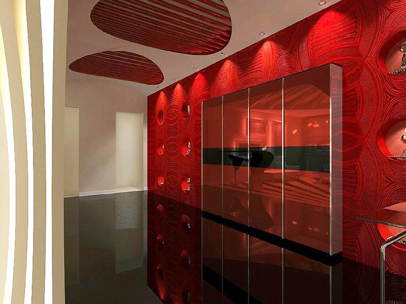 Просторный холл оформлен в красно-чёрном цвете