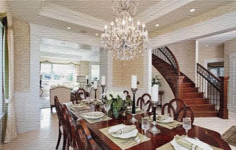 Для торжественных приёмов в гостиной поставили большой стол из массива, вокруг которого разместили деревянные стулья с ажурными спинками
