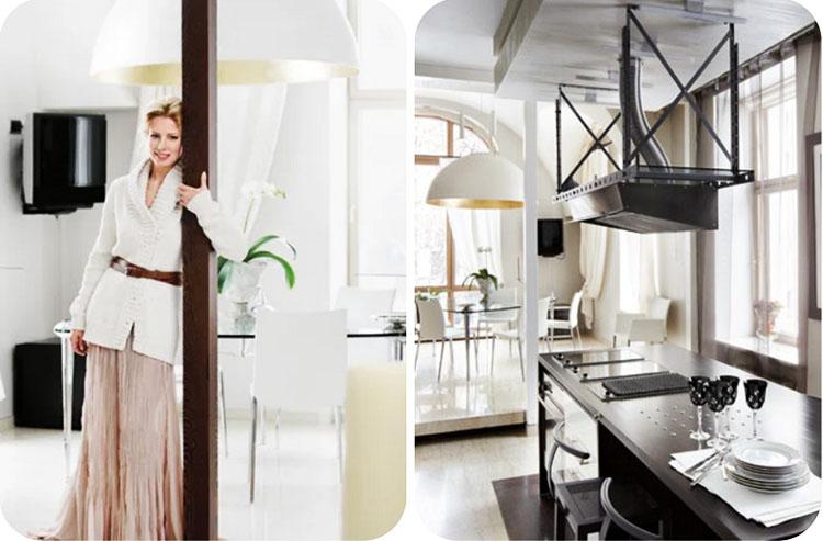 Стерильный белоснежный интерьер кухни-столовой разбавляют акценты в золотом и чёрном оттенках