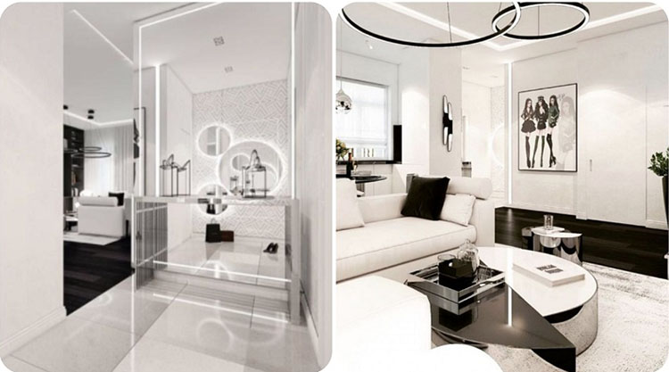 Пол просторного холла облицован белоснежным мрамором, для стен использовали глянцевые и зеркальные панели