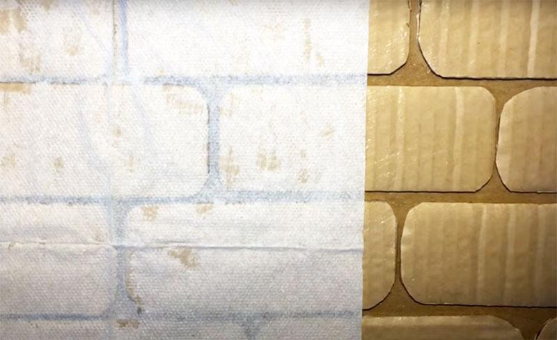 На имитацию кирпича тоже автор наклеила салфетки в несколько слоёв, чтобы создать видимость окрашенного кирпича