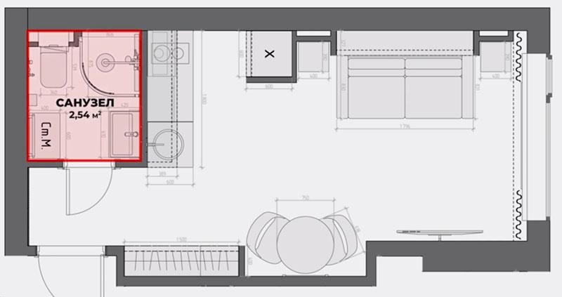 На этой небольшой площади нужно было предусмотреть санузел со всем необходимым, кухню и гостиную