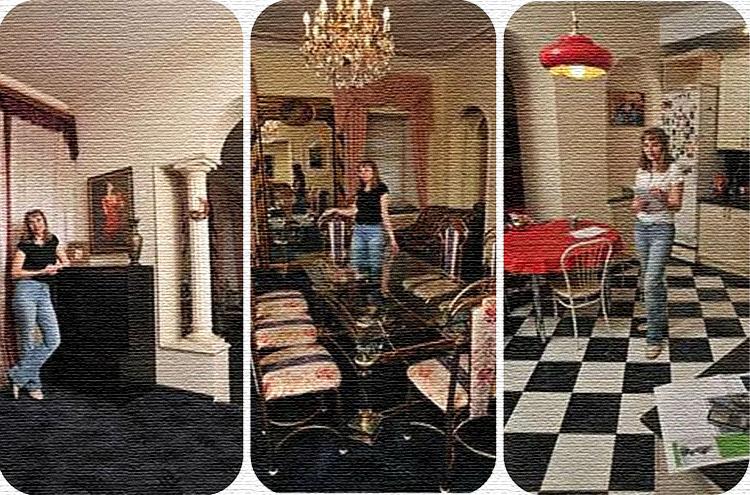 Для приёма гостей поставили огромный стол со стеклянной столешницей и антикварные стулья