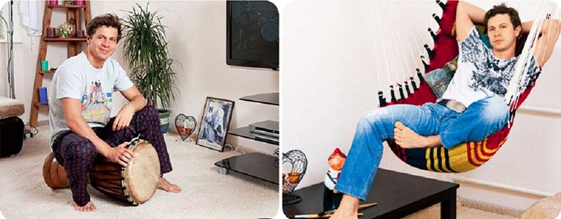 Главная изюминка спальни – яркий гамак, в котором Павел Деревянко настраивается на творческий лад