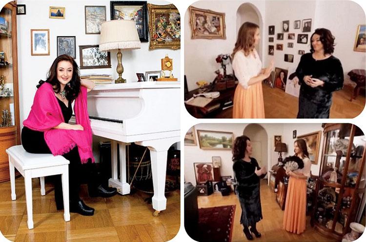 Стены гостиной украшают картины грузинских художников и памятные семейные фото в элегантных рамах