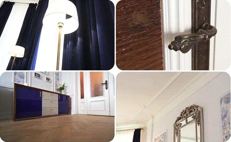 Филёнки из массива дуба на дверных полотнах повторяют рамочный узор из молдингов на стенах