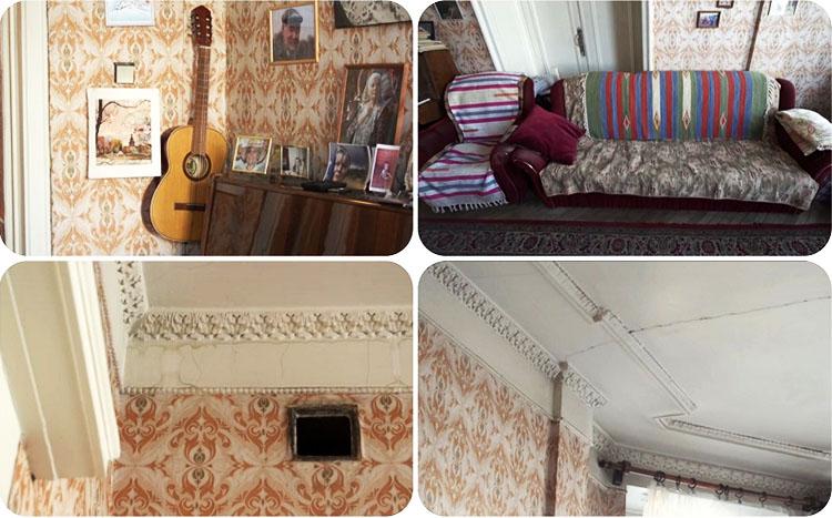 В гостиной установлено две двери, одна из которых была заставлена мебелью и не использовалась