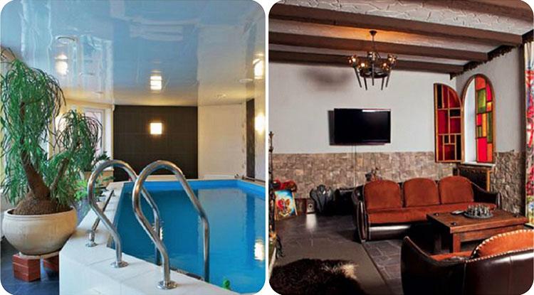 На потолке в бассейне установили глянцевое натяжное полотно, визуально увеличивающее пространство