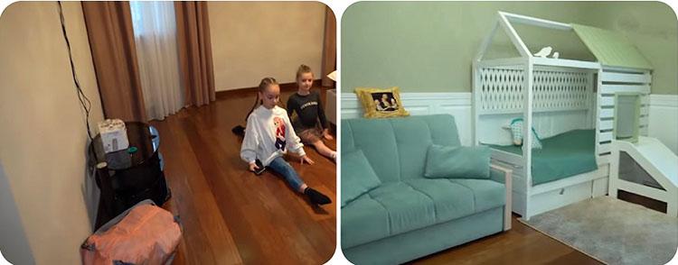 В детской сына поставили небольшой раскладной диван с велюровой обивкой