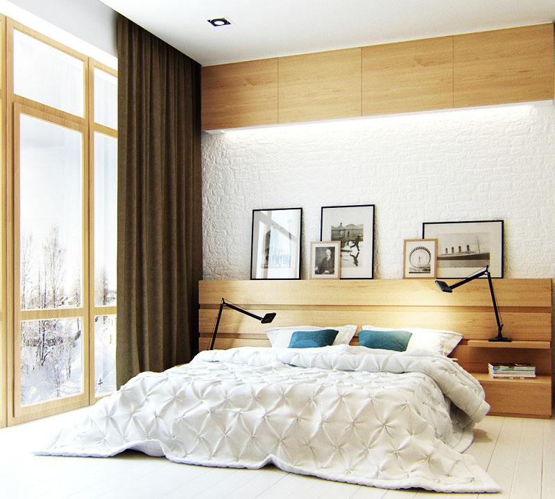 Панорамное окно украшено однотонными портьерами, собранными в глубокие складки