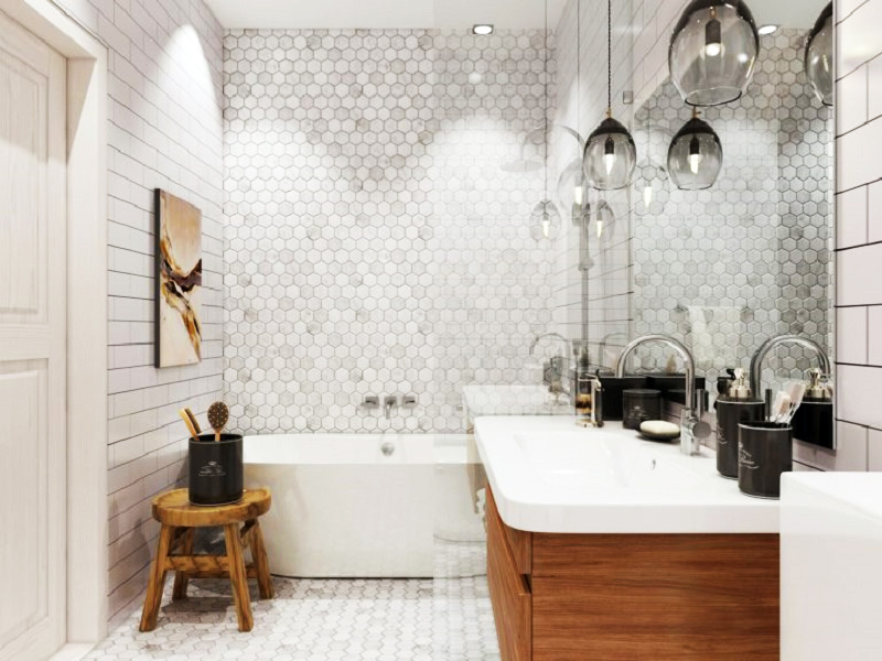 Ванную комнату освещают дизайнерские светильники в виде перевёрнутых фужеров из тонированного стекла и потолочная точечная подсветка