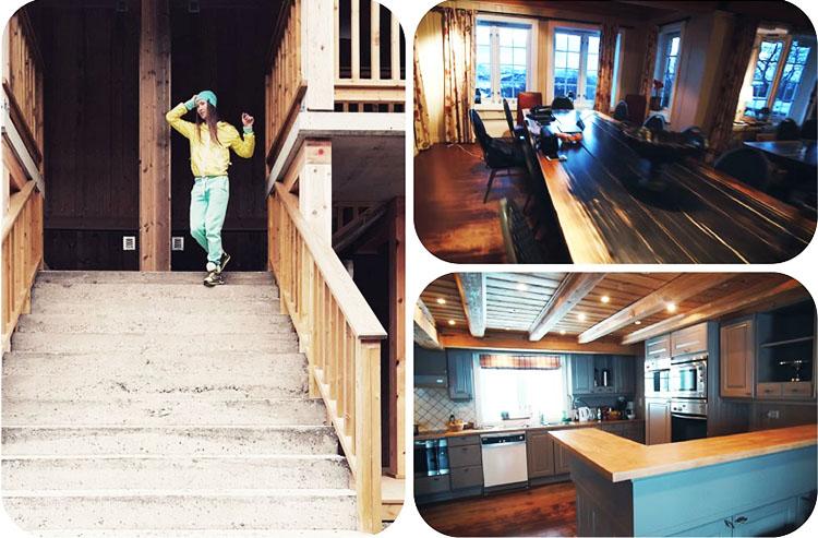 На кухне установлен угловой гарнитур с барной стойкой в серо-голубой гамме
