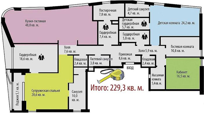 Планировка просторной квартиры Евгения Петросяна
