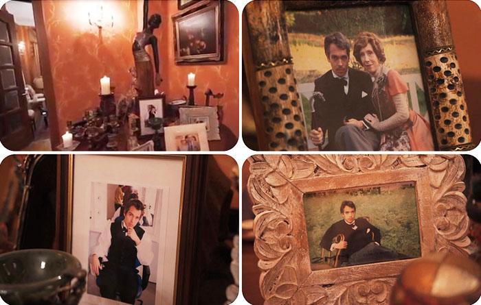 Стены гостиной украшает живопись в классических багетных рамах, на столешницах расставлены фотографии сына, который живёт в Англии