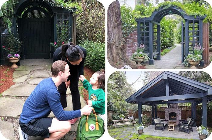 На заднем дворике построили открытую беседку с камином и удобными плетёными диванами и креслами