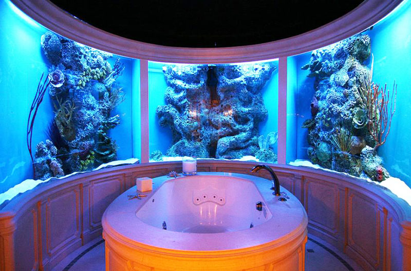 Дизайнерские решения с аквариумами-диорамами очень впечатляющи
