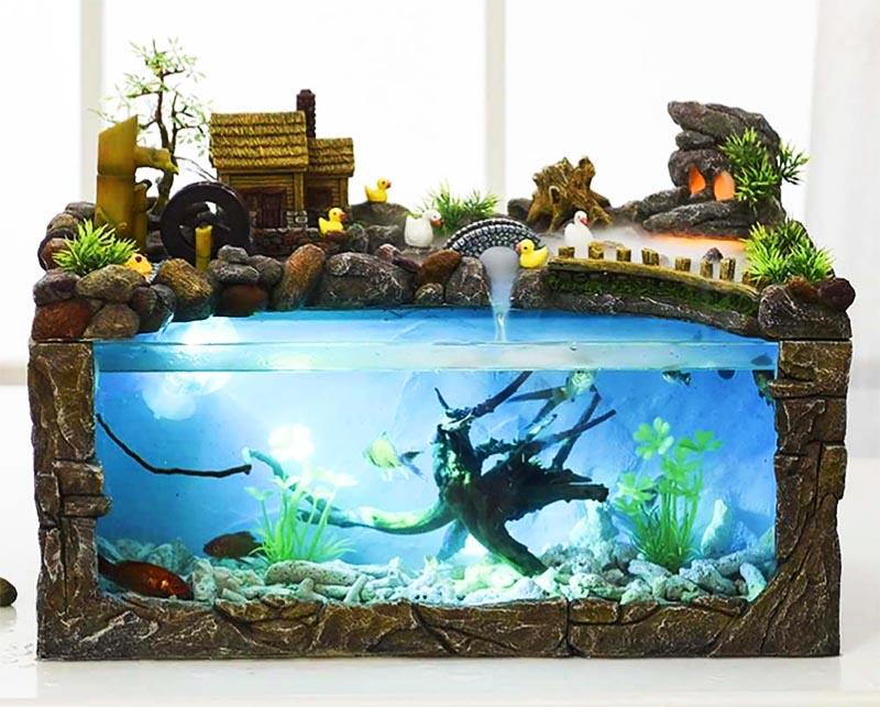 Оформление аквариума не только внутри, но и снаружи может быть очень необычным
