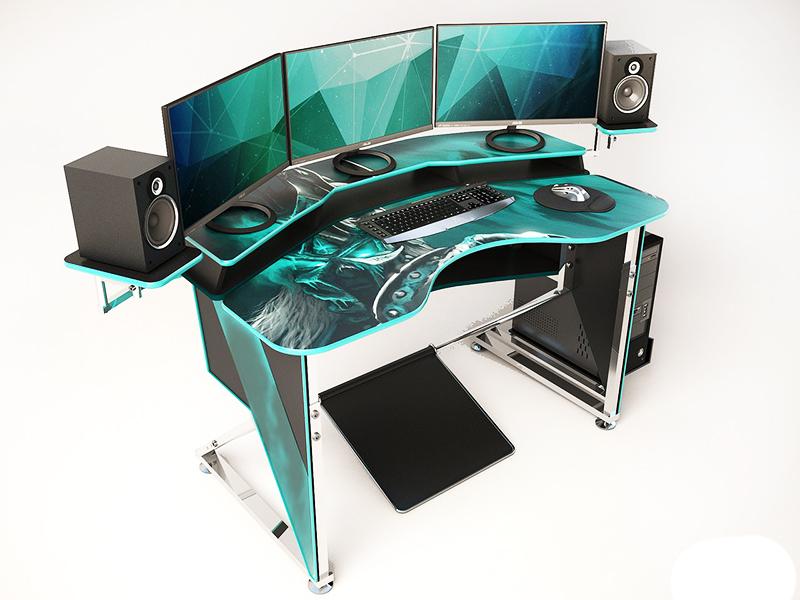 В этой модели помимо удобной подставки под мониторы и акустику и выемки в столешнице для сидящего есть ещё и подставка под ноги