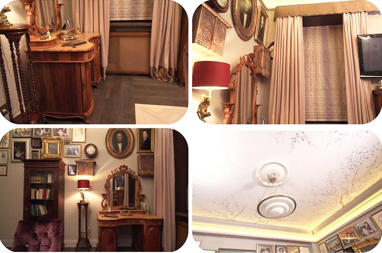 Комнату освещает старинный светильник с матовым стеклянным плафоном, украшенным по периметру золотой каймой