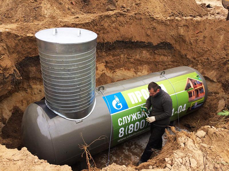 Газгольдеры бывают вместительностью от 2 700 до 20 000 кубометров, и заправлять их нужно будет в зависимости от вашего потребления – один- два раза в год
