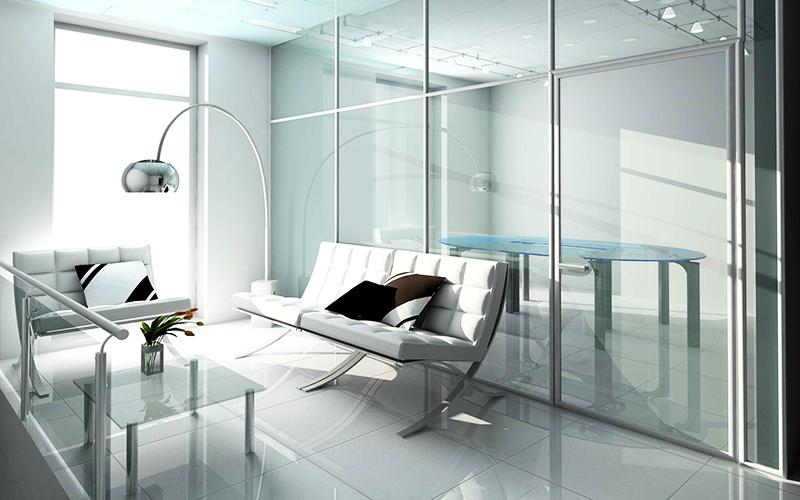 Мебель здесь практически незаметна: она либо встроена в стены, либо имеет зеркальную поверхность