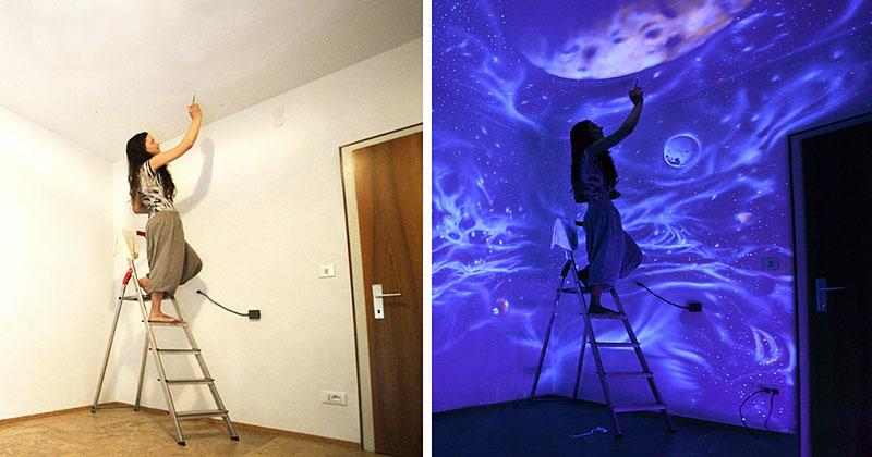 Интересное решение – использовать в окраске стен специальную краску, которая светится в темноте. С таким интересным приёмом вы подарите интерьеру скрытые возможности, которые проявятся только при определённых обстоятельствах. Это вполне в духе невидимки