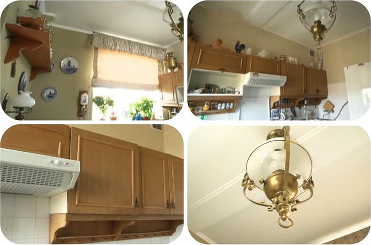 На открытых полочках и верхних модулях хранится коллекция посуды и фигурок из цветного стекла