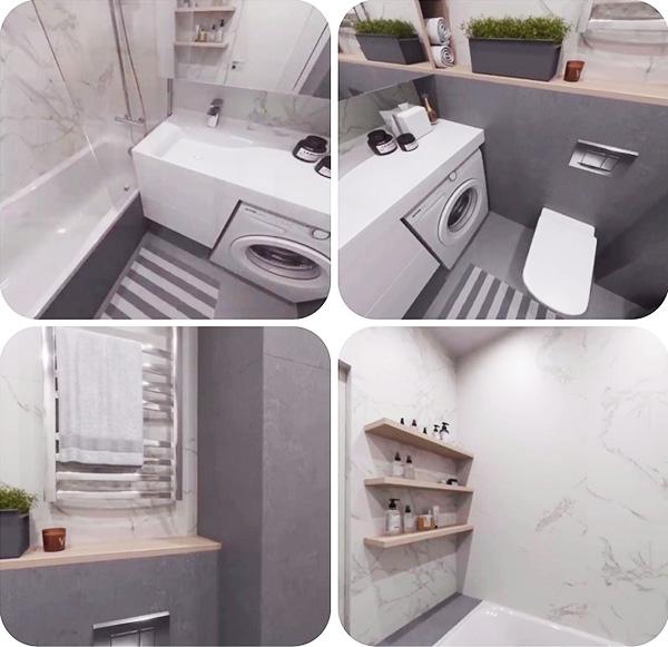 Над ванной установили несколько полочек для хранения косметических принадлежностей