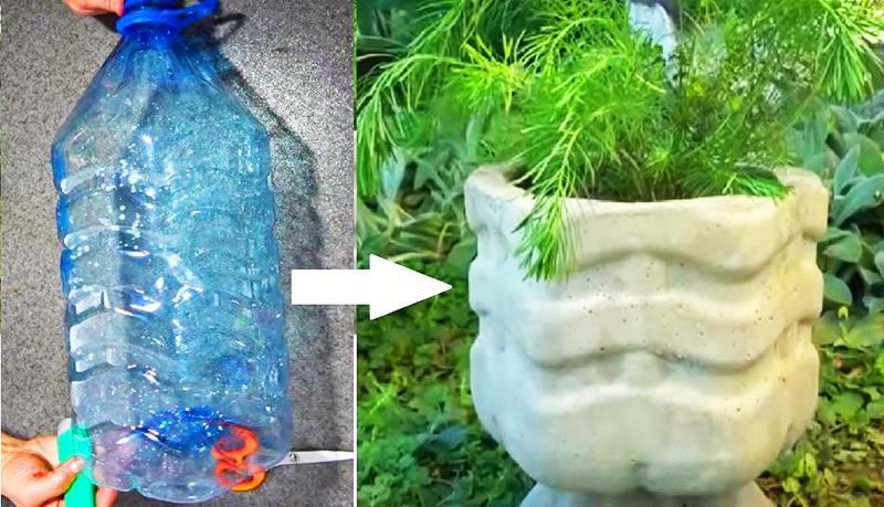 Бутыль можно использовать как форму для заливки бетонных кашпо