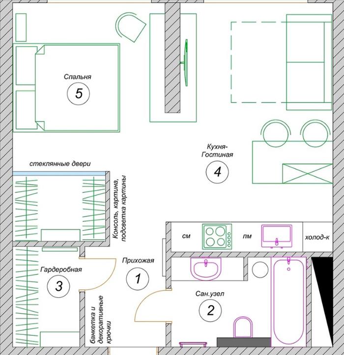 Готовый проект планировки квартиры