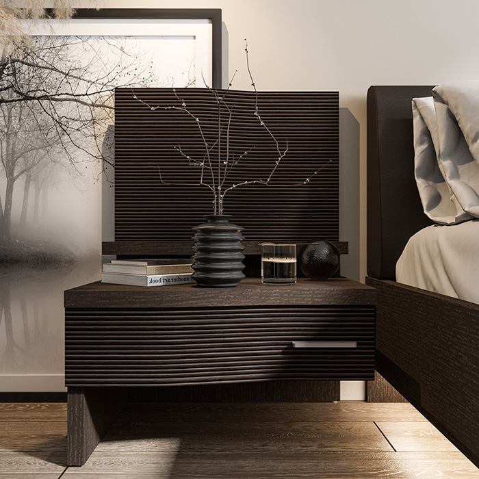 Фасад ящика и волнообразный экран декорированы бамбуком с ярко выраженным фактурным рисунком