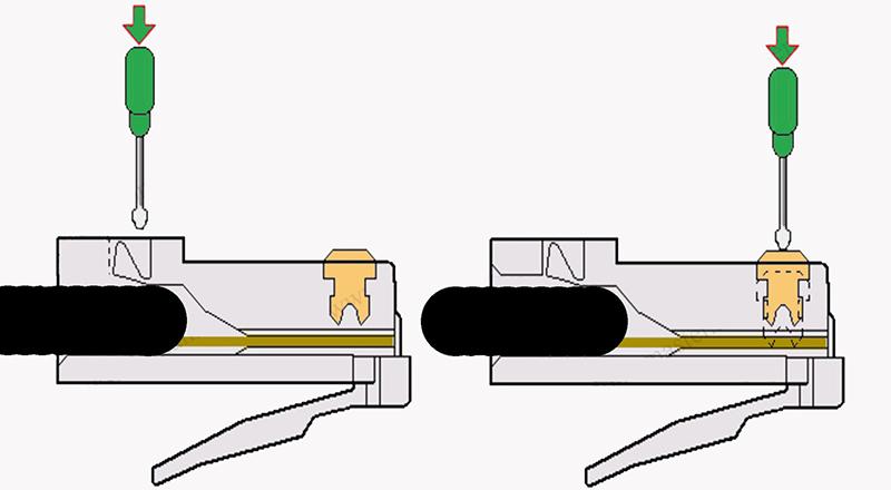 Обжим фиксатора кабеля и проводников