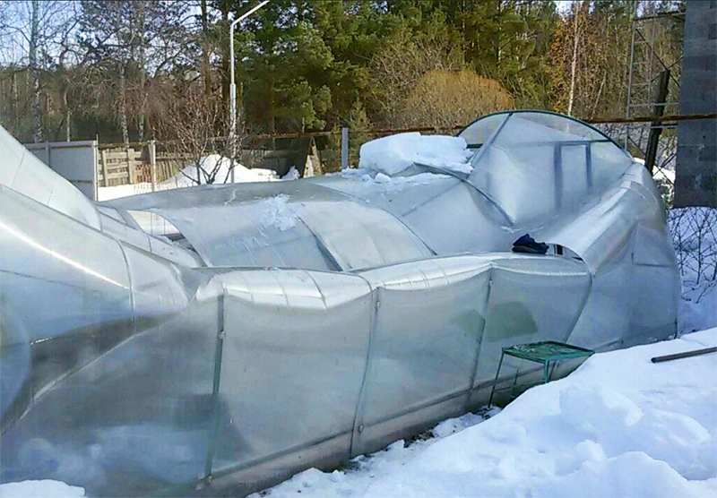 Если 100 кг – значит, при толщине снега больше 30 см теплица может рухнуть
