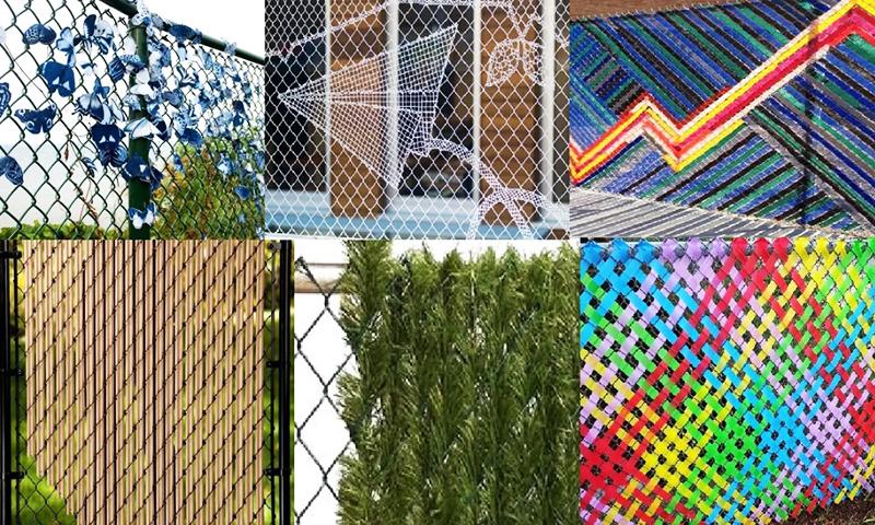 Декорирование забора из сетки