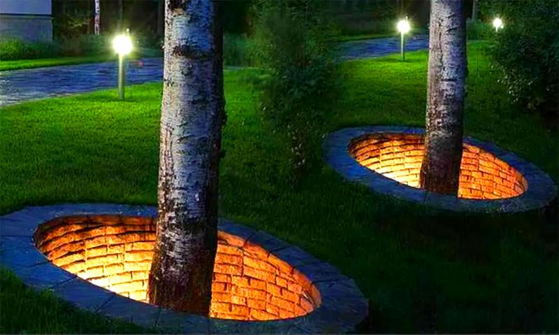 Колодец вокруг ствола можно сделать из кирпича. А если использовать подсветку, будет казаться, что деревья растут откуда-то из подземелья