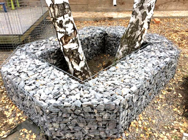 Ещё один подходящий вариант для создания приствольного колодца – габион. Сделайте каркас из сетки и заполните его камнями