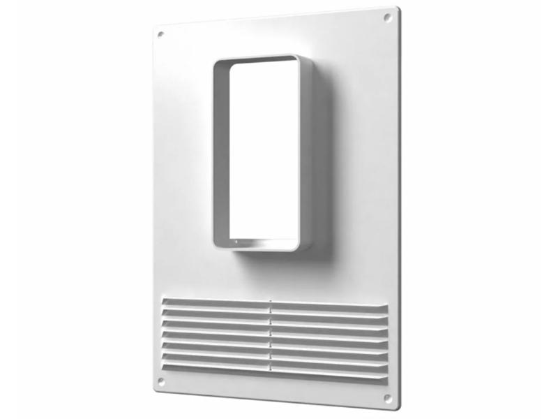 В верхнюю часть подключается вентиляционный короб вытяжки, а нижняя остаётся свободна для естественной вентиляции помещения