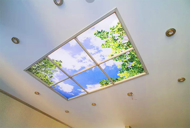 С помощью светодиодных лент умельцы создают на потолках настоящие порталы, сочетая освещение с натуралистичным рисунком