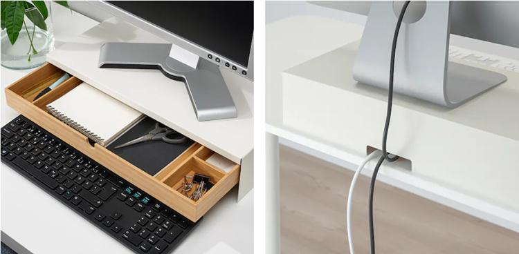 Подставка не занимает много места на столе и при этом обеспечивает практичное хранение
