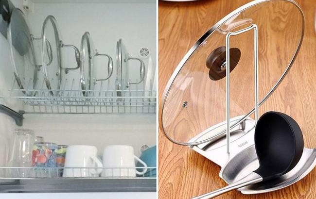 Сушилка для посуды в качестве держателя крышек