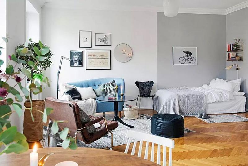Спальное место выделено цветом стены