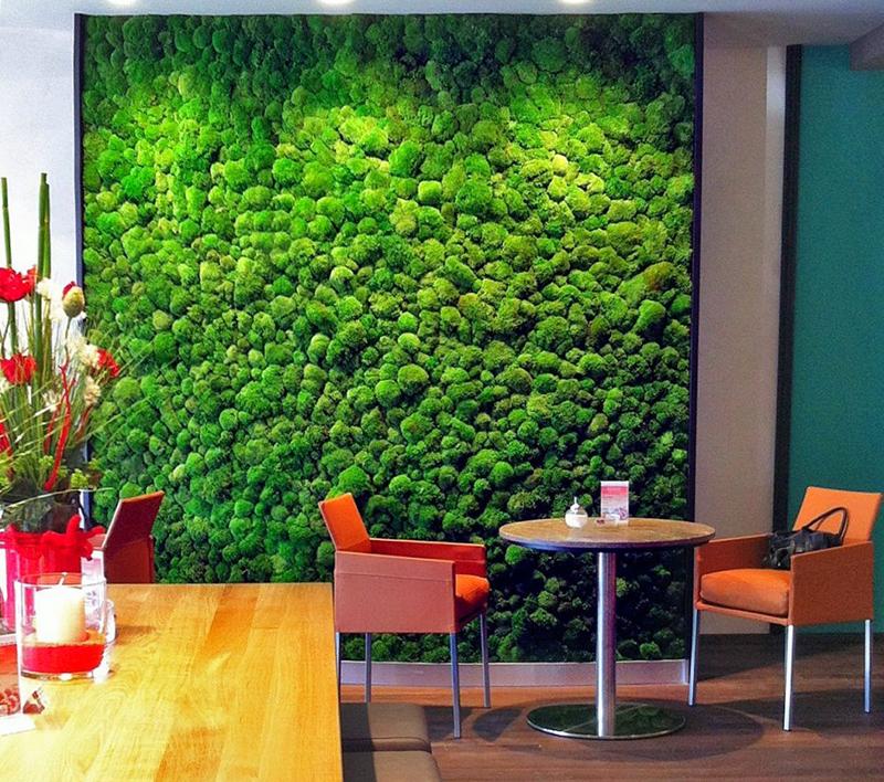 Для фиксации на стене мох крепят на панелях с влагостойким покрытием